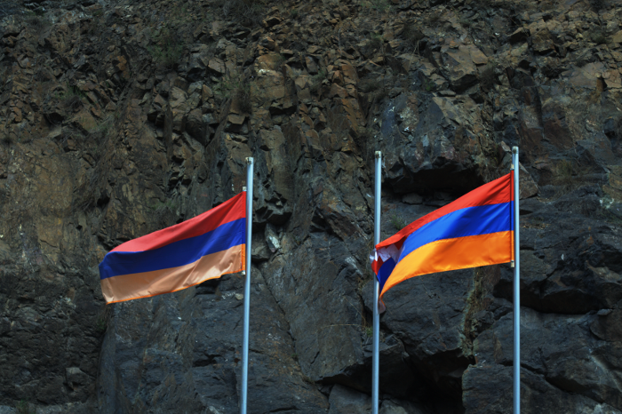 flags at the Armenia NKR border